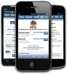 Mobile insurance website for Modern Insurance Services at m.mymoderninsurance.com